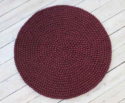 Wollteppich »Uni Color«, Wooldot, rund, Höhe 23 mm, Filzkugel-Teppich, reine Wolle, beidseitig verwendbar