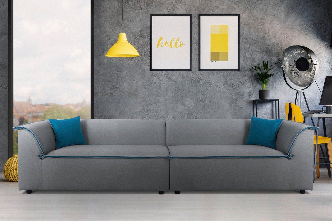 INOSIGN Big-Sofa »Porto«, mit großem Keder, der innen farblich abgesetzt ist, in 2 Bezugsqualitäten und vielen Farben | Wohnzimmer > Sofas & Couches > Bigsofas | Grau | Holzwerkstoff | INOSIGN