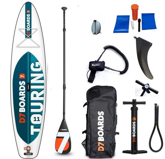 D7 Inflatable SUP-Board »iSUP-Board 11.0 Touring«, (Set, 9 tlg)