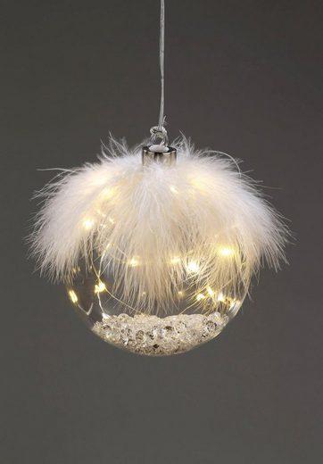 CHRISTMAS GOODS by Inge LED Dekolicht »Kugel Ø 12 cm«, mit Federn