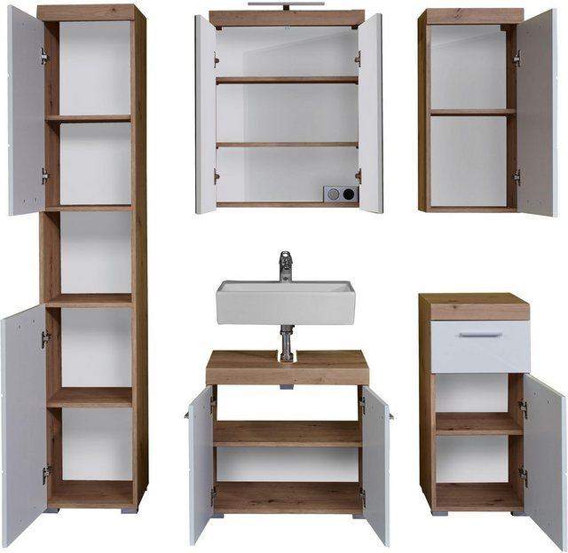 Badezimmer Sets - trendteam Badmöbel Set »Amanda«, (Set, 5 tlg), Türanschlag wechselbar  - Onlineshop OTTO
