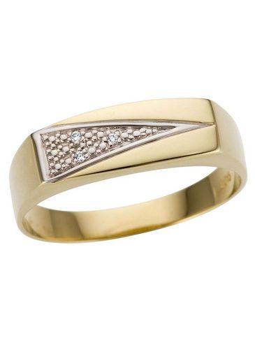 Firetti Goldring »Siegelring,bicolor, glanz, rhodinierte Fassung, massiv, dreieckig«, mit Brillanten