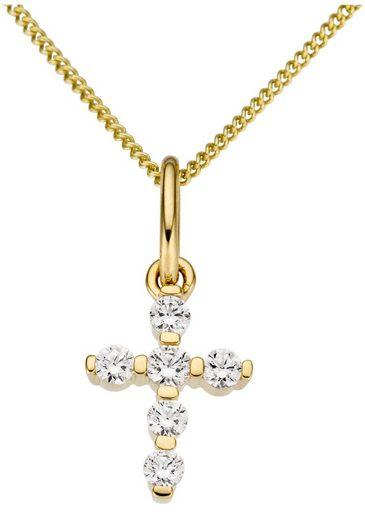 Firetti Kettenanhänger »Kreuz, glanz, massiv« mit Zirkonia