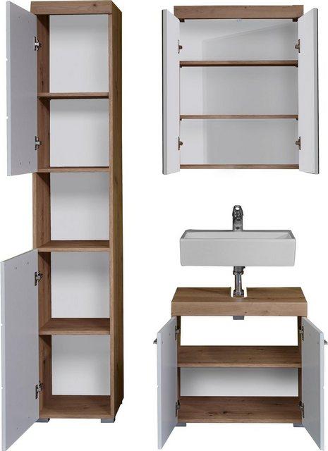 Badezimmer Sets - trendteam Badmöbel Set »Amanda«, (Set, 3 tlg), mit Spiegelschrank, Hochschrank und Waschbeckenunterschrank, Zwischenböden hinter den Türen, MDF Fronten in Hochglanz oder Holzoptik  - Onlineshop OTTO