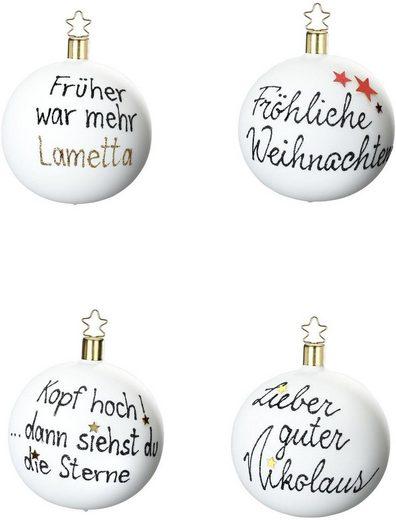 INGE-GLAS® Weihnachtsbaumkugel (4 Stück), Geschenkset in Magnetbox