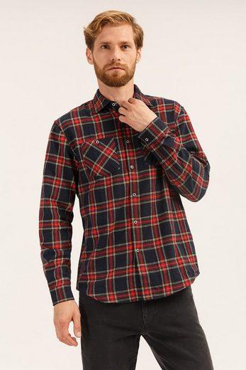 Finn Flare Langarmhemd in modischem Karo-Design
