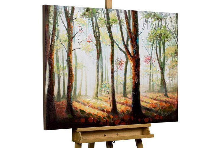 KUNSTLOFT Gemälde »Schattenspiele im Wald«, handgemaltes Bild auf Leinwand