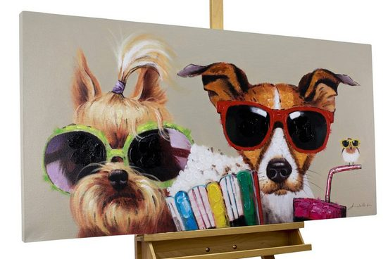 KUNSTLOFT Gemälde »Kiki, Jack und Matt«, handgemaltes Bild auf Leinwand