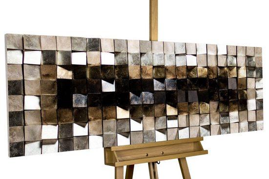 KUNSTLOFT Holzbild »Lustrous Pixel«, handgefertiges Wandbild aus Holz