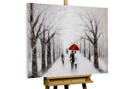 KUNSTLOFT Gemälde »Kiss in the Snow«, handgemaltes Bild auf Leinwand