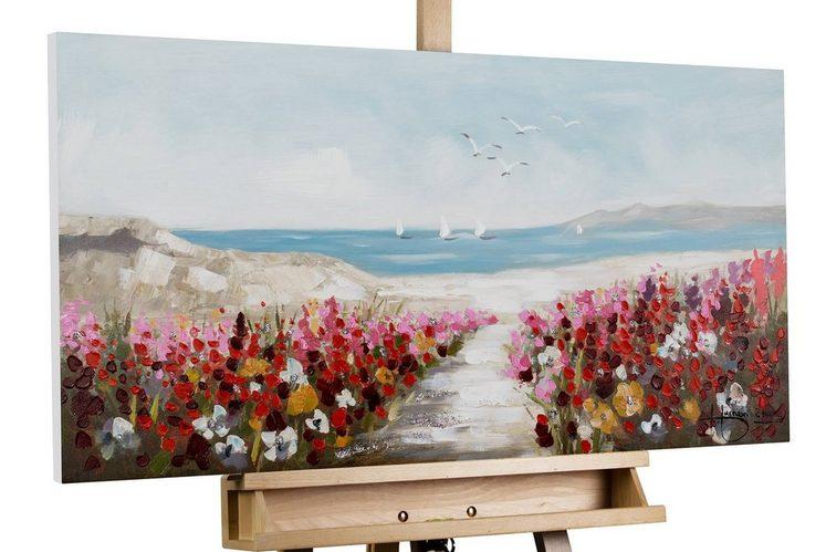KUNSTLOFT Gemälde »Jardin de Playa«, handgemaltes Bild auf Leinwand
