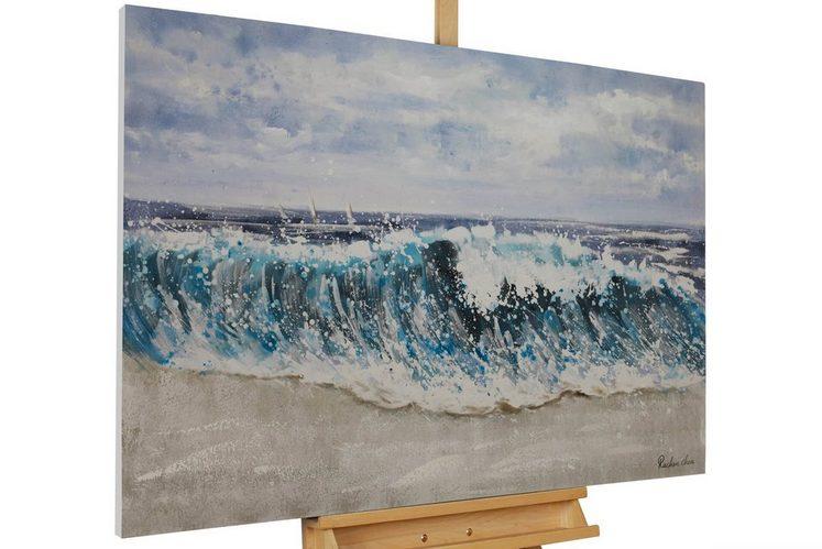KUNSTLOFT Gemälde »Breaking Waves«, handgemaltes Bild auf Leinwand