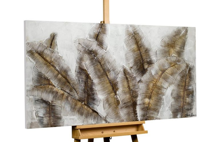 KUNSTLOFT Gemälde »Iced Feathers«, handgemaltes Bild auf Leinwand