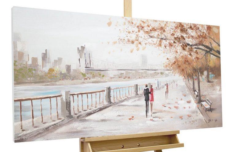 KUNSTLOFT Gemälde »Autumn Walk«, handgemaltes Bild auf Leinwand