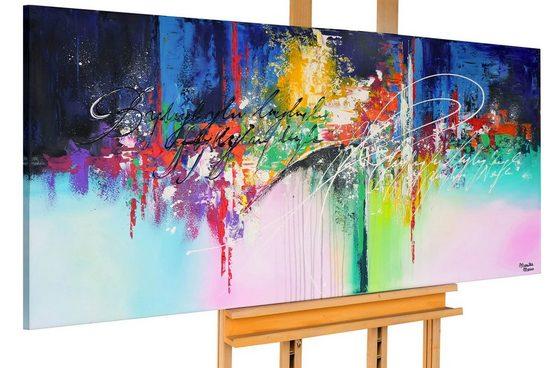 KUNSTLOFT Gemälde »Bunter Polarhimmel«, handgemaltes Bild auf Leinwand
