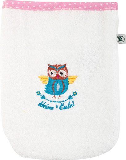 ADELHEID Waschlappen »Kleine Eule Waschlappen« (3-tlg), mit Paspel und Stickerei
