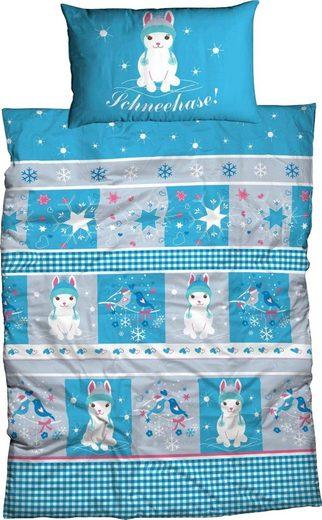 Kinderbettwäsche »Schneehase«, ADELHEID, abgepasstes Kissen