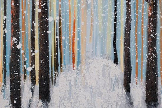 KUNSTLOFT Gemälde »Am Wintermorgen«  handgemaltes Bild auf Leinwand