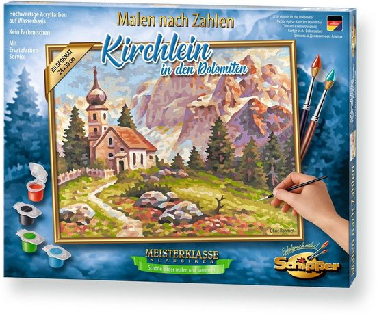 Schipper Malen nach Zahlen »Meisterklasse Premium - Kirchlein Dolomiten«, Made in Germany