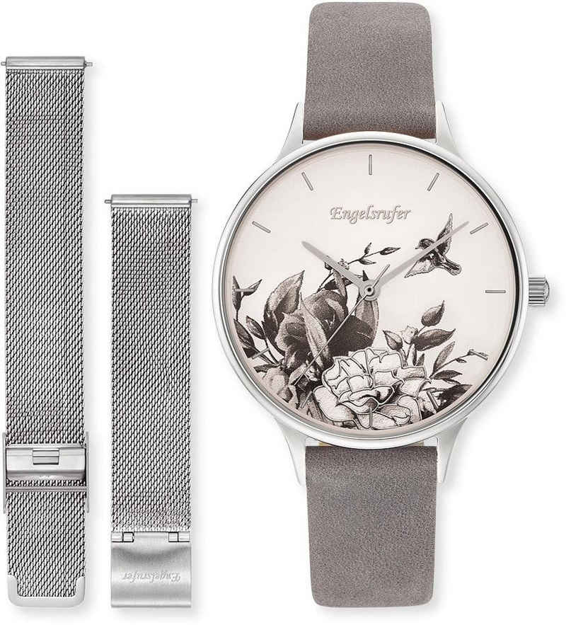 Engelsrufer Quarzuhr »Blume, ERWO-FLOWER-01«, (Set, 2-tlg., Set Uhr Blume silber mit Nubuklederband hellgrau und Wechselband Mesh silber)