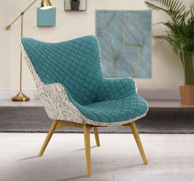 INOSIGN Sessel »Duke Print«, Karoprägung im Sitzbereich und Dekostoff auf der Rückseite