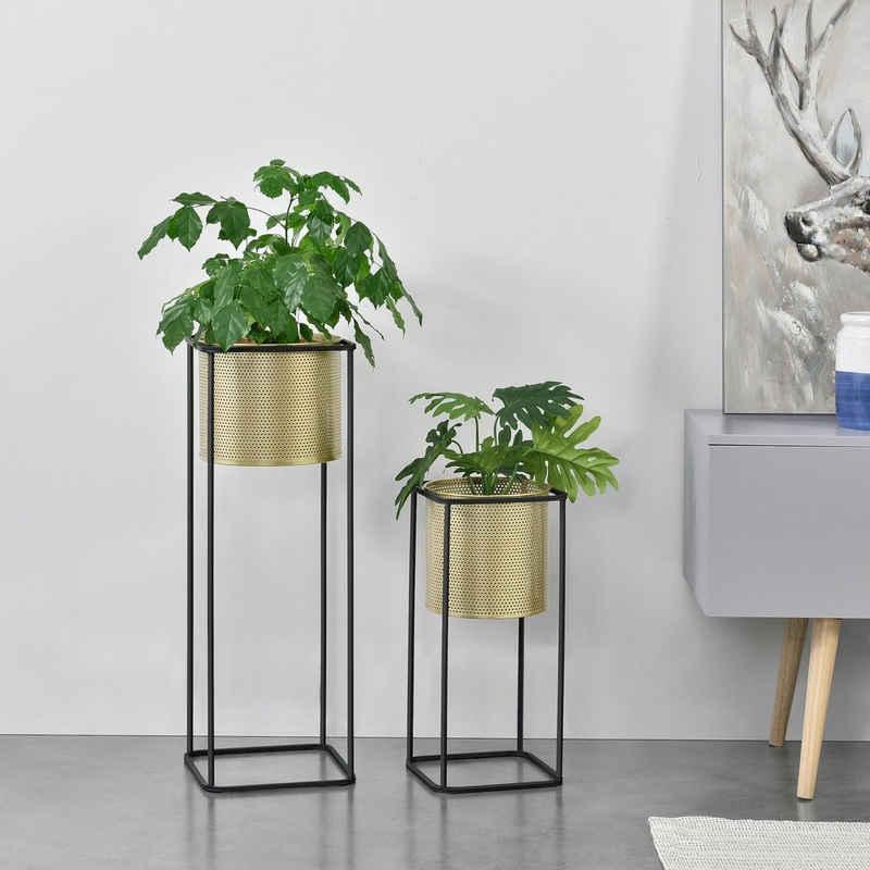en.casa Blumenständer (Set, 2er), »Mettet« Blumenkübel Pflanzenständer Pflanztopf Metall gold/schwarz