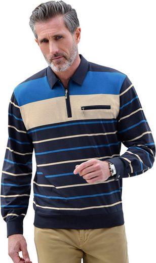 Hajo Langarm-Poloshirt mit Streifen-Muster