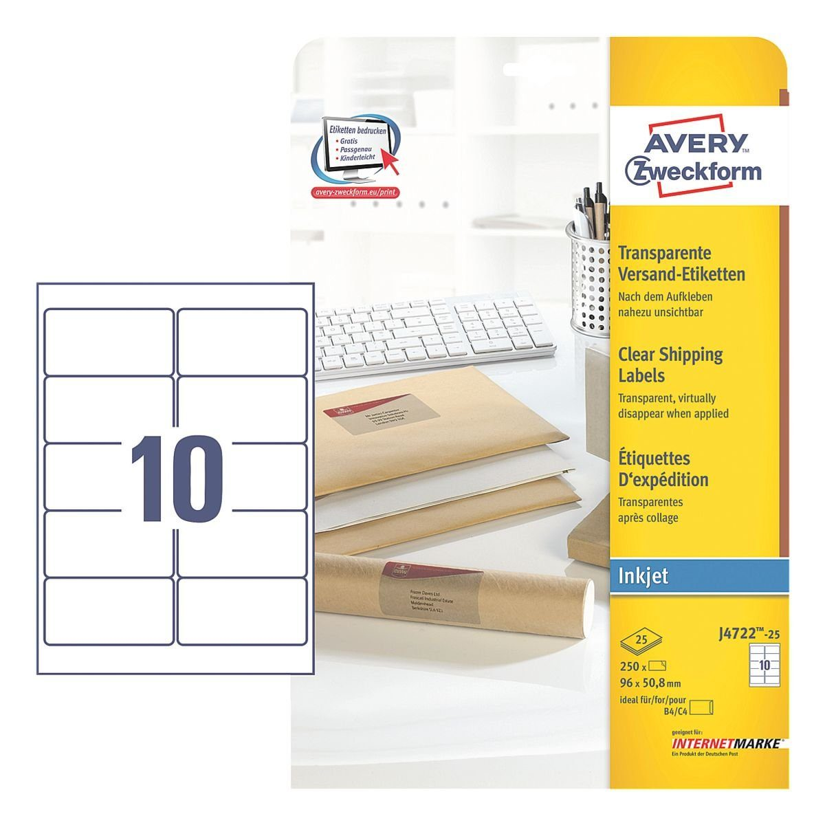 Avery Zweckform 250er-Pack Folien-Etiketten »J4722-25«