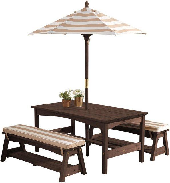 Sitzmöbel - KidKraft® Kindersitzgruppe »Gartentischset dunkelbraun«, mit Sitzauflagen und Sonnenschirm, beige weiß gestreift  - Onlineshop OTTO