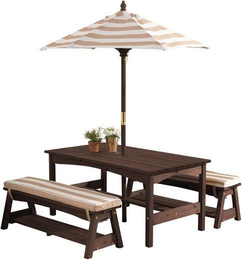 KidKraft® Kindersitzgruppe »Gartentischset dunkelbraun«, mit Sitzauflagen und Sonnenschirm, beige-weiß gestreift