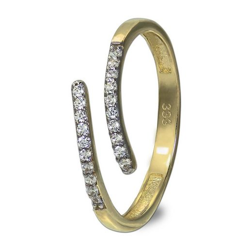 GoldDream Goldring »GDR524Y56 GoldDream Gold Ring Gr.56 Line Zirkonia« (Ringe), Damenring (Line) 333 Gelbgold - 8 Karat, Farbe: gold, weiß