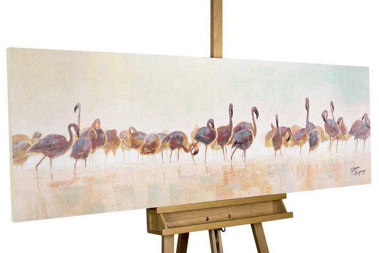 KUNSTLOFT Gemälde »Bad der Flamingos«, handgemaltes Bild auf Leinwand