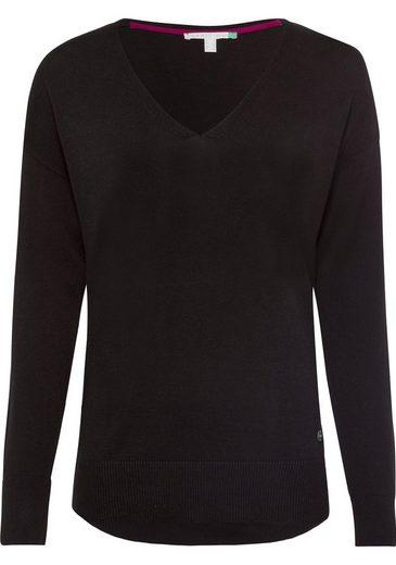 Esprit V-Ausschnitt-Pullover mit Rippstrickelementen an der Seitennaht