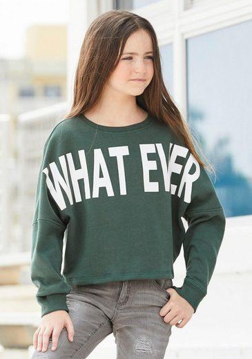Arizona Sweatshirt »WHAT EVER« in kurzer, weiter Form