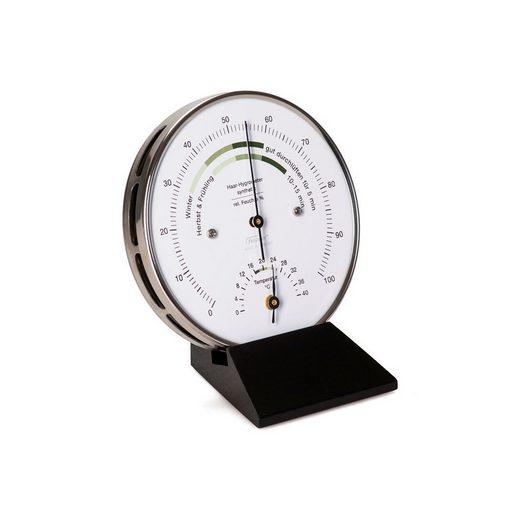 Fischer Wohnklima Thermo- Hygrometer, Holzsockel schwarz