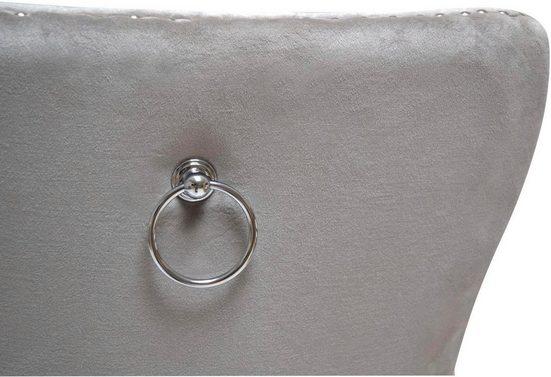 Leonique Stuhl »Cassy« in grauem Bezug  mit Ziernägeln und Rautensteppung