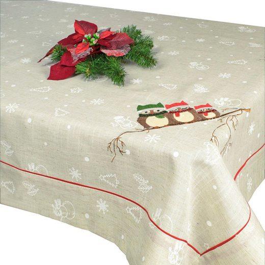 Delindo Lifestyle Tischdecke »EULEN« (1-tlg), gesticktes Design, schwere Qualität