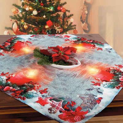 Delindo Lifestyle Mitteldecke »Kerzenschein« (1-tlg), gedrucktes Design, blickdichter Stoff, mit LED-Beleuchtung