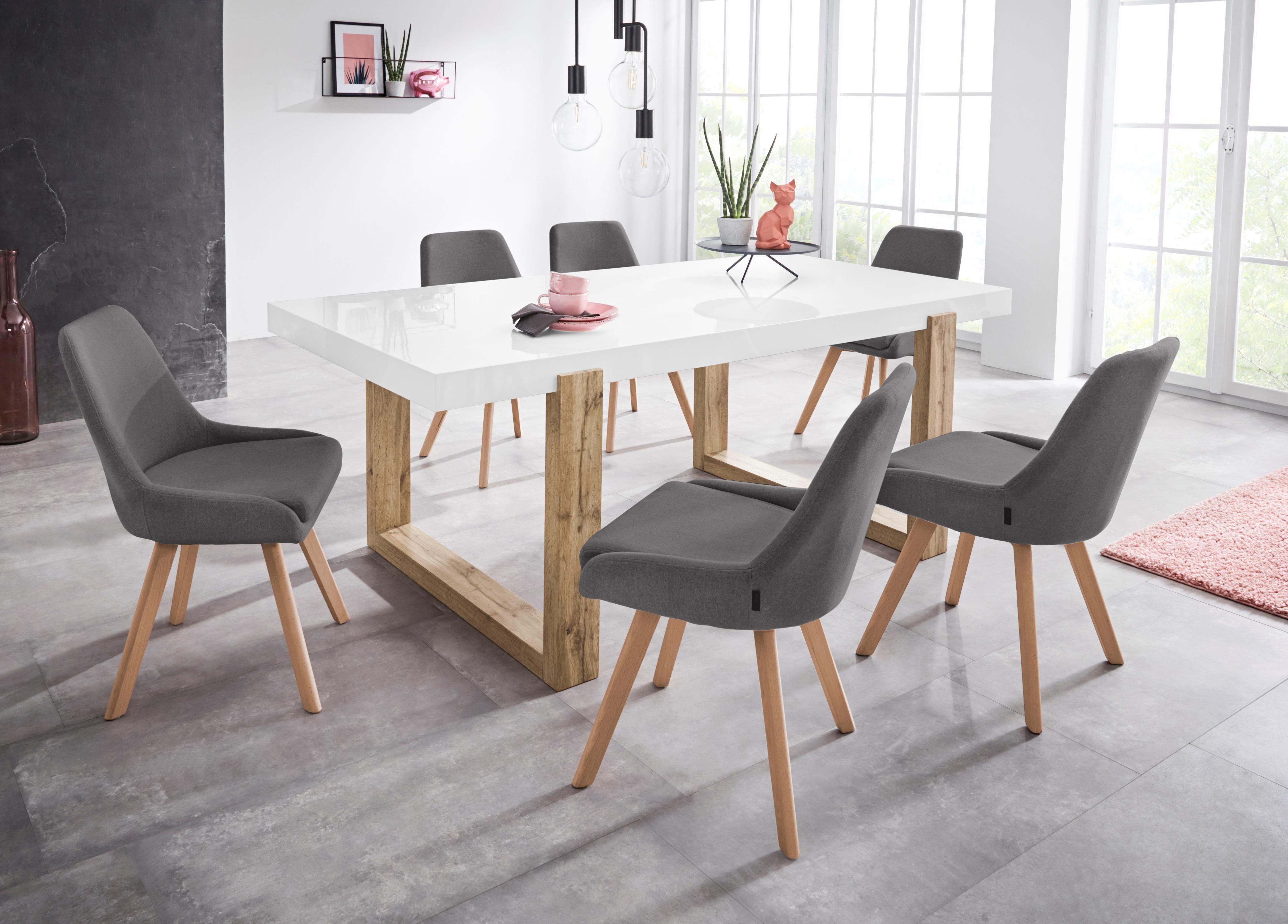 INOSIGN Stuhl »Dilla« 2er Set, aus schönem Webstoff Bezug und massiven Eichenholzbeinen, Sitzhöhe 48 cm online kaufen | OTTO