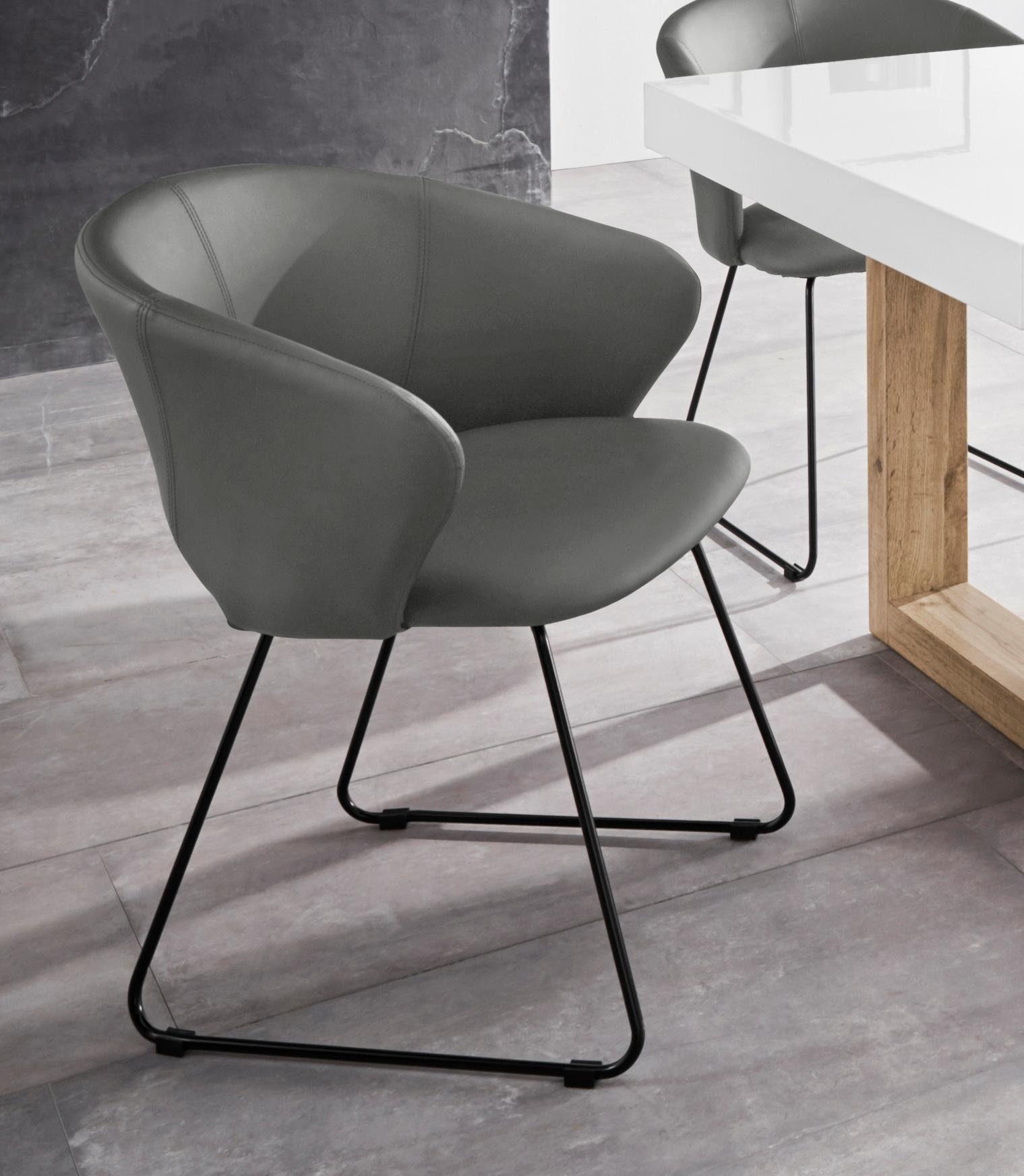 INOSIGN Esszimmerstuhl »Plymouth« mit einem schönen Kunstleder Bezug und einem schwarzen Metallgestell in Kufen Form, Sitzhöhe 47 cm online kaufen |