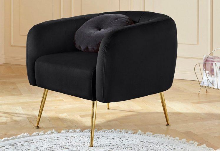 Leonique Sessel »Leie«, aus schönem weichen Velvet Bezug, mit goldfarbenen Metallbeinen, Sitzhöhe 44 cm