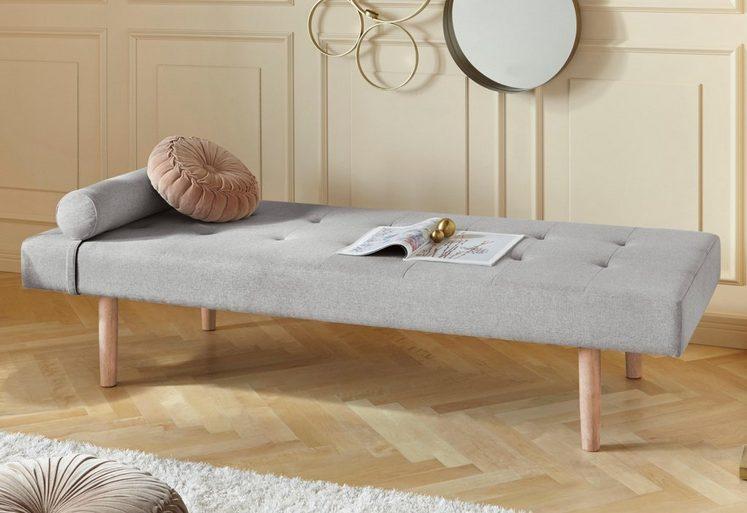 Leonique Daybett »Arles«, mit einem schönen Bezug aus hochwertiger Wolle und massiven Holzbeinen, Liegefläche 200 cm