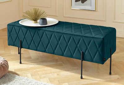 Leonique Sitzbank »Cavalino«, mit Velvetbezug und mit schwarzen Metallbeinen, auch als Garderobenbank oder Bettbank geeignet
