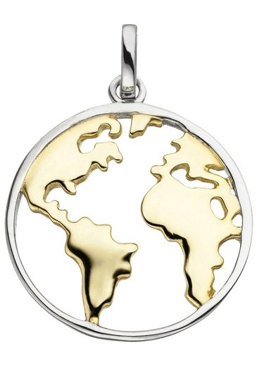 JOBO Kettenanhänger »Weltkarte«, 925 Silber bicolor vergoldet
