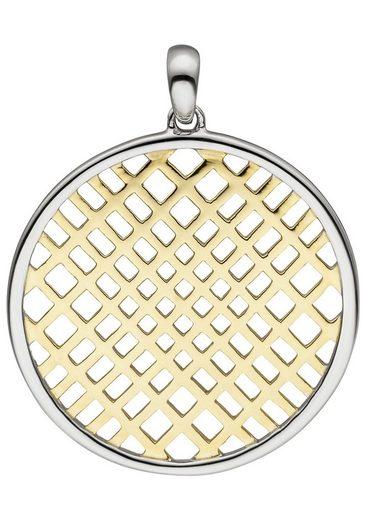 JOBO Kettenanhänger, rund 925 Silber bicolor vergoldet