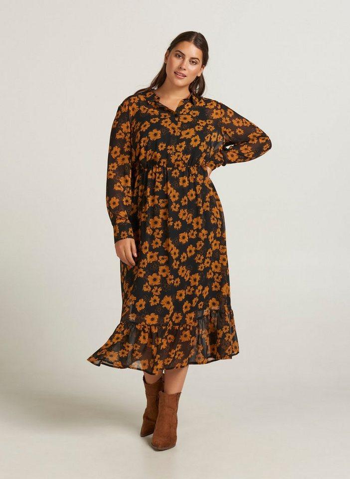 Vereinigte Staaten detaillierte Bilder der Verkauf von Schuhen Zizzi Maxikleid Damen Große Größen Kleid Blumenprint Langarm Sommer  Maxikleid online kaufen | OTTO