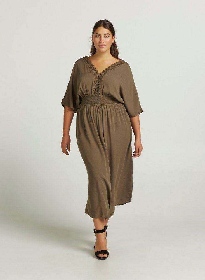 Zizzi Smokkleid Damen Große Größen Kleid Kurzarm Spitze