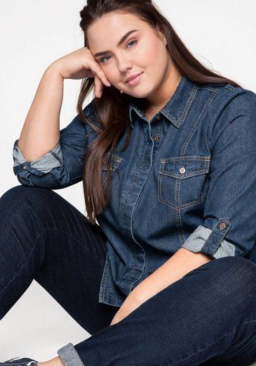 Sheego Jeansbluse aus leichter Denim-Qualität