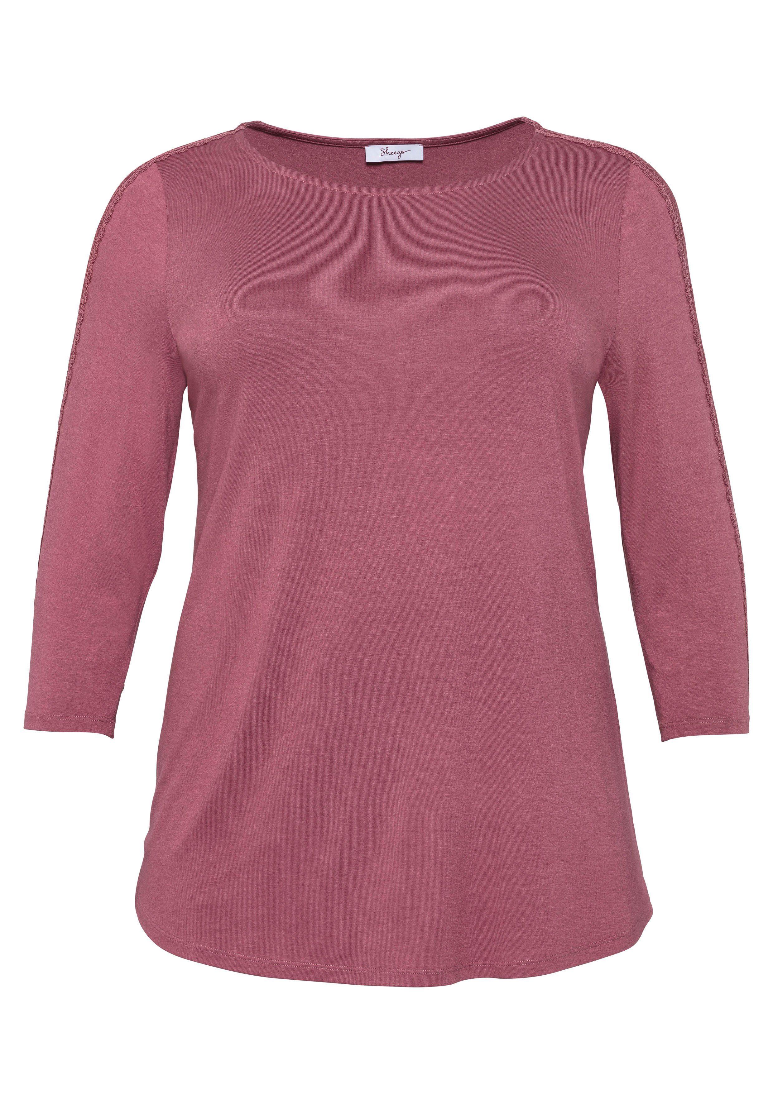 Sheego 3/4-arm-shirt Mit Spitzeneinsatz Kaufen
