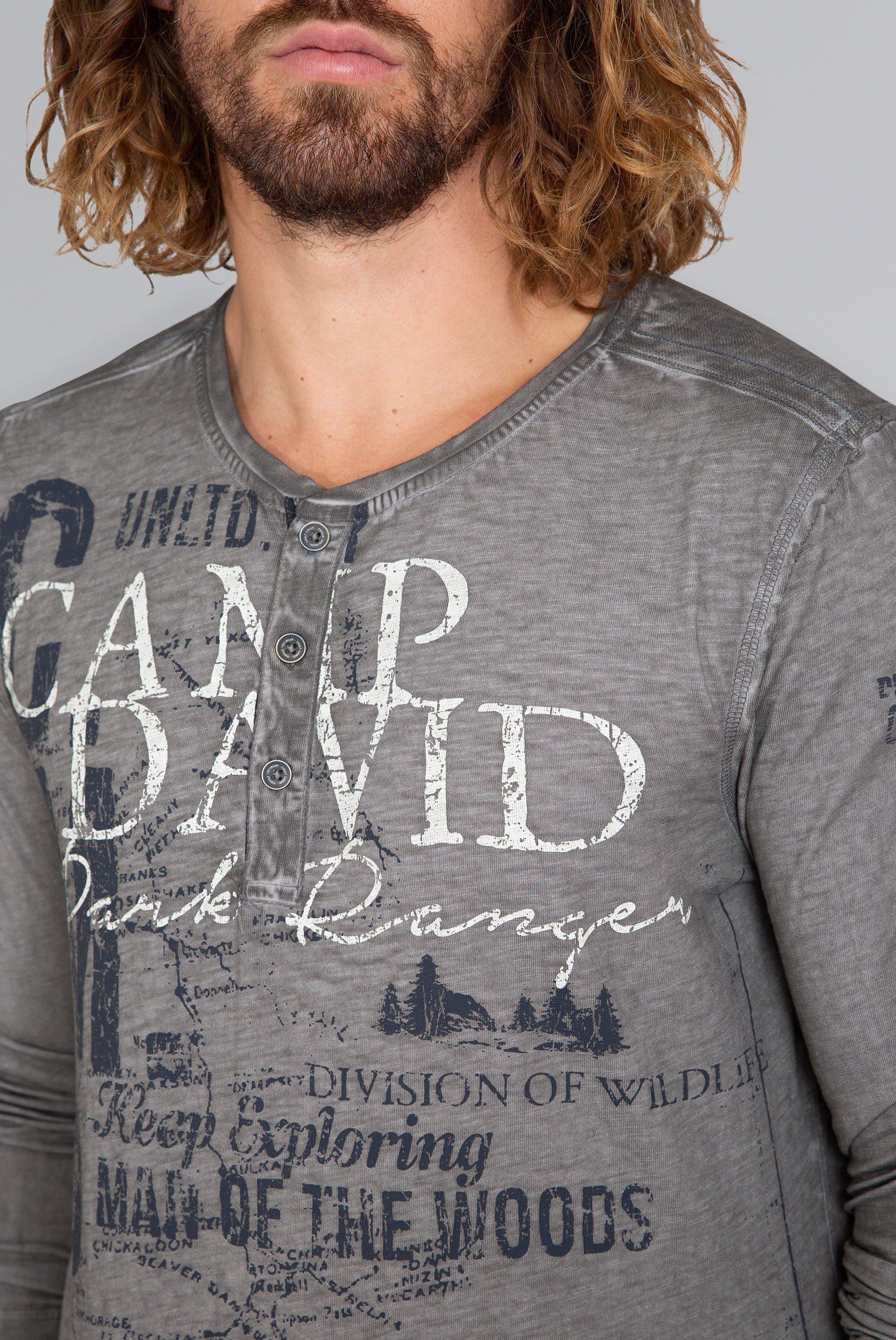 David Mit Kaufen Camp Langarmshirt Schriftzug ED9WH2I